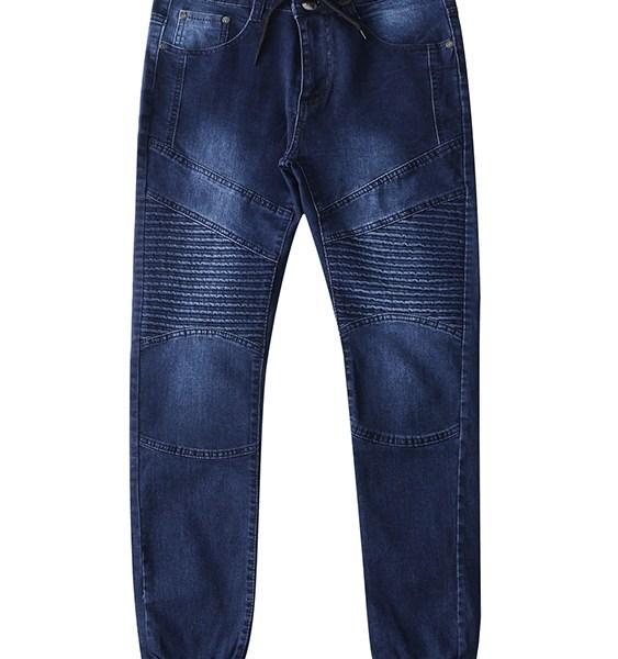 Men Pleated Long Pants Tapered Hem Jeans 2