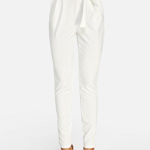 White Self-tie Embellished Pants 2