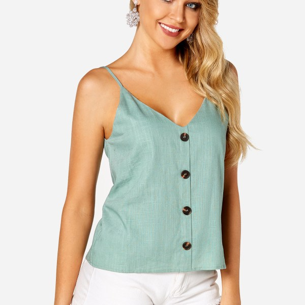 Green Backless Button Design Plain V-neck Sleeveless Camis 2