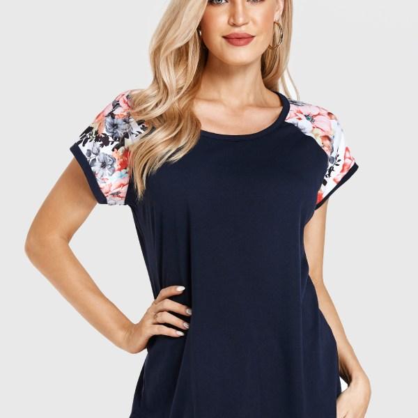 Black Floral Print Round Neck Short Sleeves Tee 2