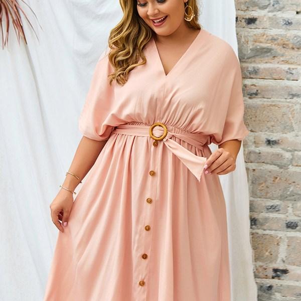 Plus Size Pink V-neck Belt Design Half Sleeves Dress 2