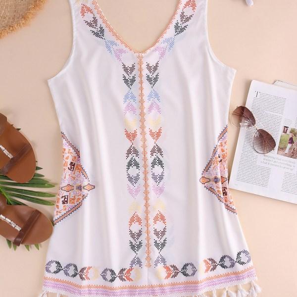 White Tribal Print V-neck Tassel Hem Sleeveless Dress 2