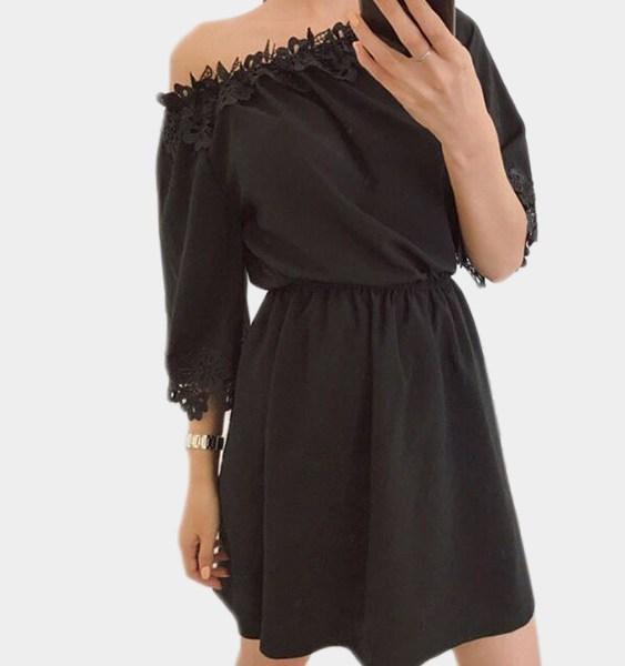 Black Off-the-shoulder Lace Trim Mini Dress 2