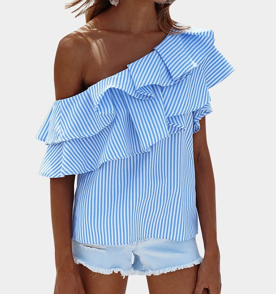Blue Sexy Stripe Pattern One Shoulder Flouncy Details Top 2