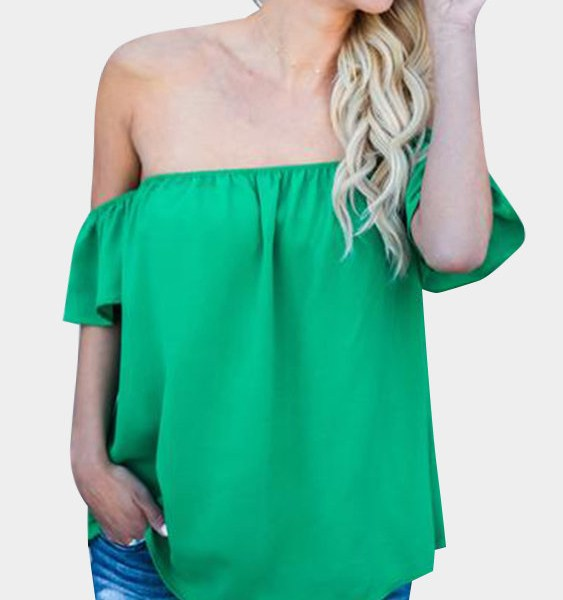 Green Sexy Off Shoulder Flared Sleeves Loose Fit Blouses 2