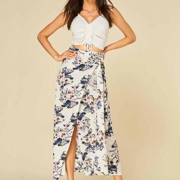White Self-tie Design Floral Print Slit Hem Skirt 2
