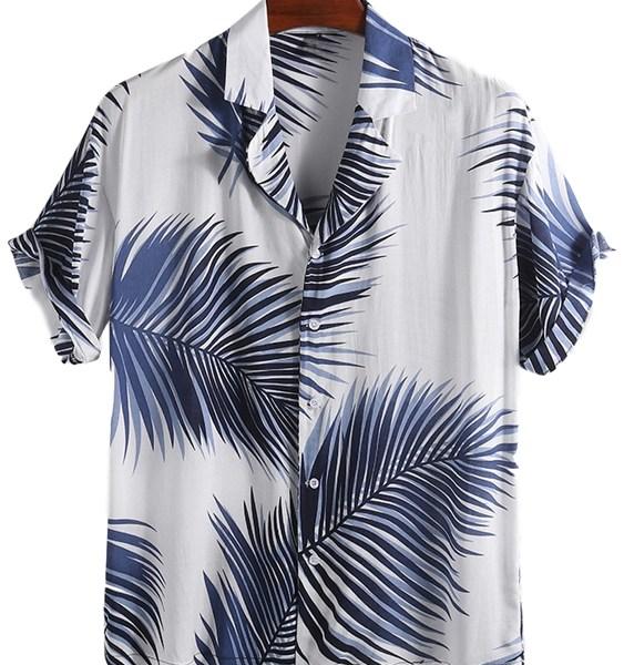 Men Hawaiian Tropical Print Soft Breathable Loose Casual Shirt 2