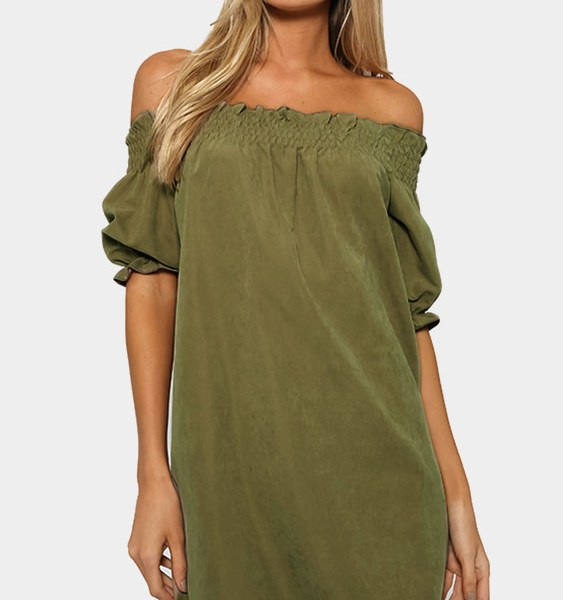 Off-The-Shoulder Mini Dress in Army Green 2