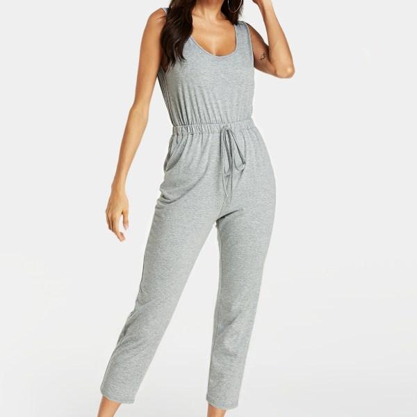 YOINS Grey Drawstring Waist Side Pockets Sleeveless Jumpsuit 2