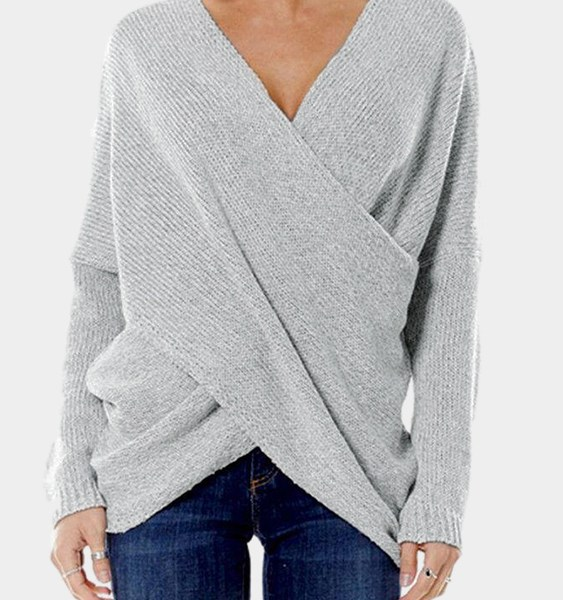 Grey Cross Front Irregular Hem Jumper 2