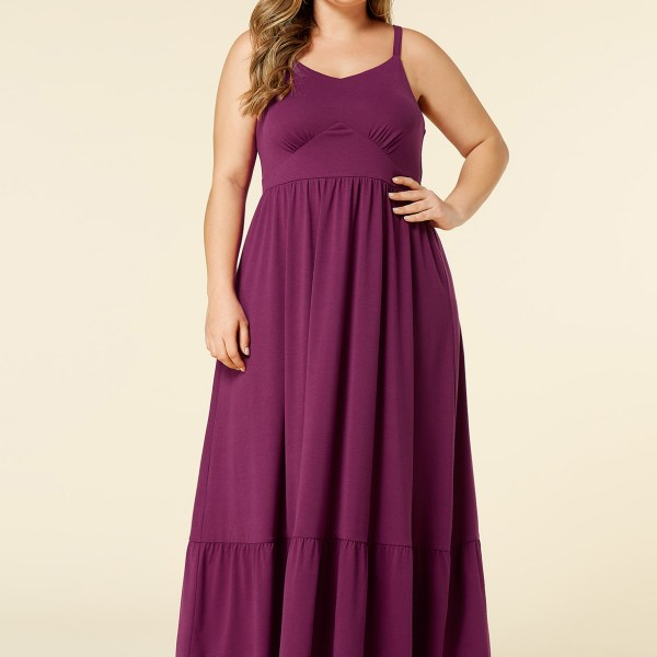 YOINS Plus Size Purple V-neck Sleeveless Ruched Dress 2