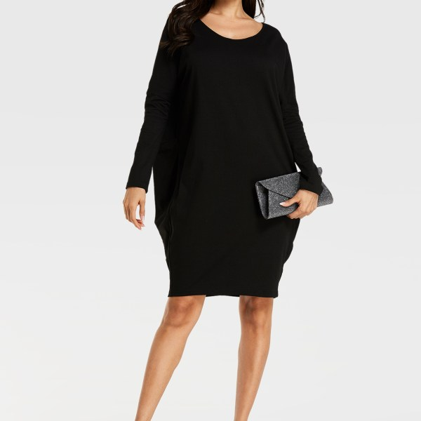 YOINS Black Round Neck Backless Long Sleeves Dress 2
