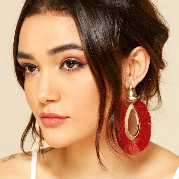 Red Bohemian Style Tassel Drops Earrings 2