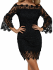 Auxo Crochet Lace Embellished Off The Shoulder Dress 3