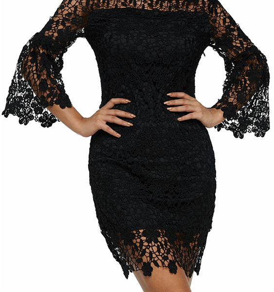 Auxo Crochet Lace Embellished Off The Shoulder Dress 2