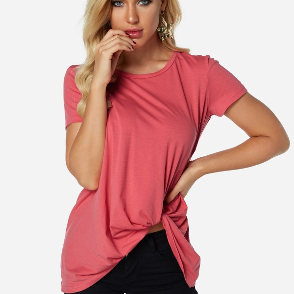 Rose Pleated Design Round Neck Short Sleeves T-shirts 2