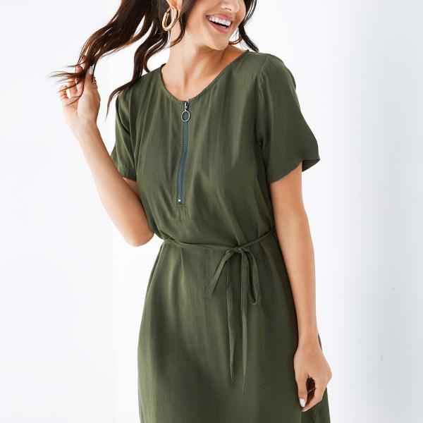 YOINS Army Green Self-tie Design V-neck Short Sleeves Dress 2