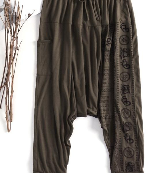 Men Vintage Loose Baggy Harem Pants Yoga Printed Tapered Trousers 2