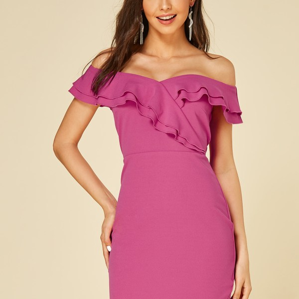 YOINS Rose Ruffle Trim Off The Shoulder Dress 2
