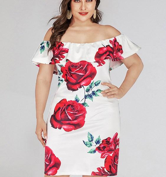 Plus Size Random Floral Print Off The Shoulder Short Sleeves Dress 2