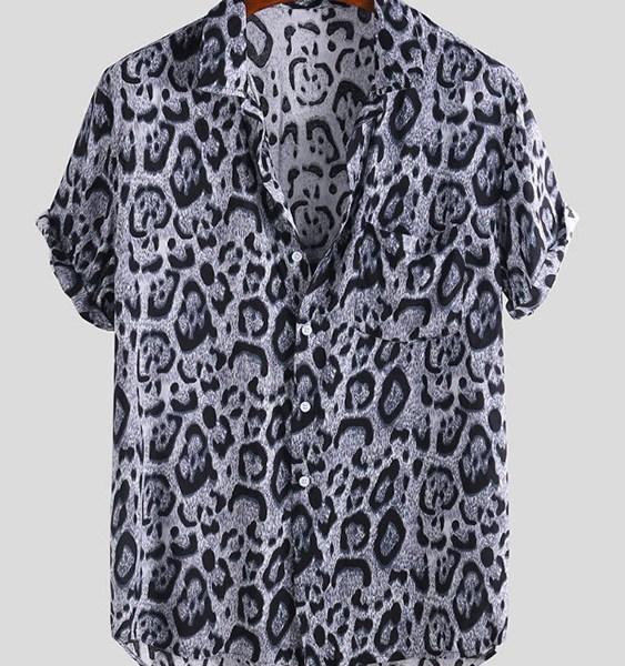 Men Casual Black Leopard Classic Collar Shirt 2