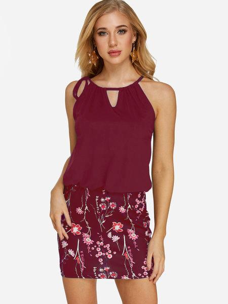 Burgundy Random Calico Print Mini Length Dress 2