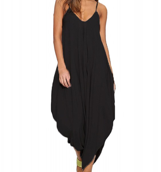 Auxo Black Drop Crotch V-neck Sleeveless Jumpsuit 2