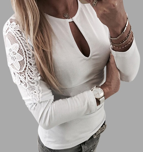 White Lace MeshPatchwork Cut Out Long Sleeves Tee 2