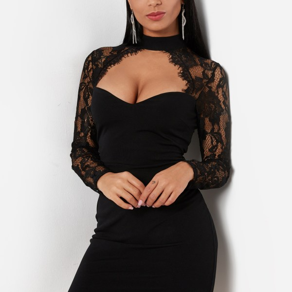 Black Sexy Crew Neck Lace Insert Mini Dress With Cut Out Detail 2