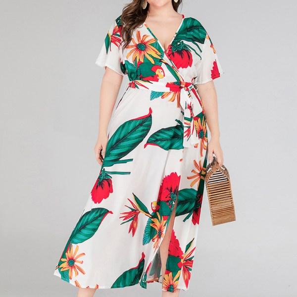 Plus Size White Belt Design Tropical V-neck Half Sleeves Dress 2