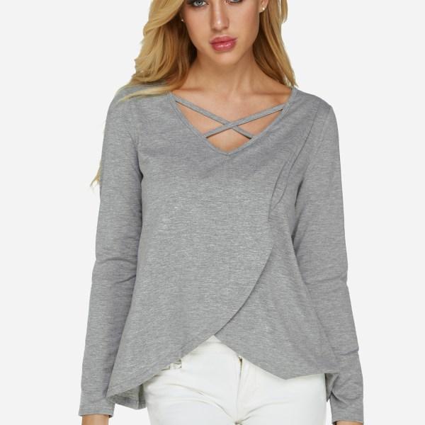 Grey Crossed Front Design Slit hem Long Sleeves V Neck T-shirts 2