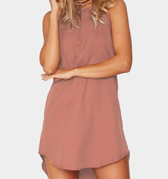 Pink Simple Sleeveless Mini Dress 2