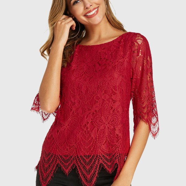 YOINS Red Lace Round Neck Half Sleeves Blouse 2