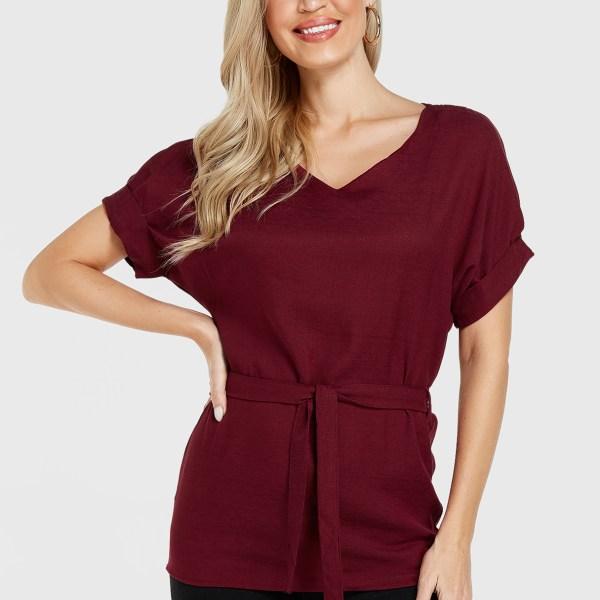 Burgundy Belt Design V-neck Short Sleeves Blouse 2
