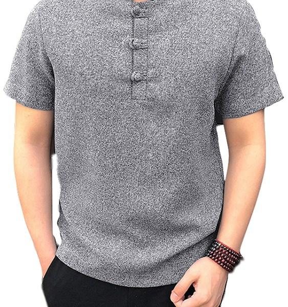 Men Button Front Stand Collar Shirt 2