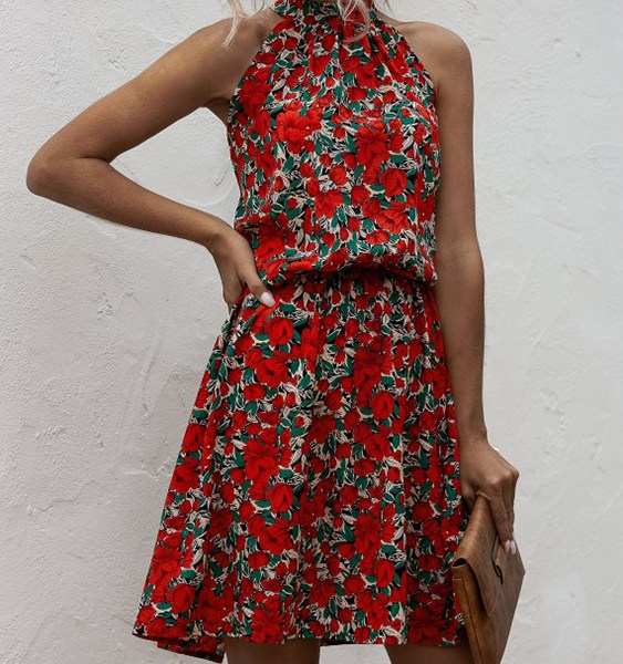 Red Calico Bowknot Lace-up Design Halter Sleeveless Dress 2
