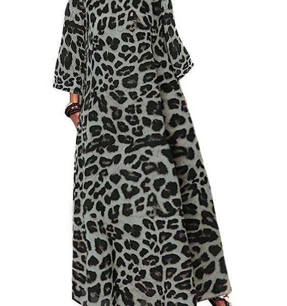 Leopard Print Round Neck Maxi Dress 2