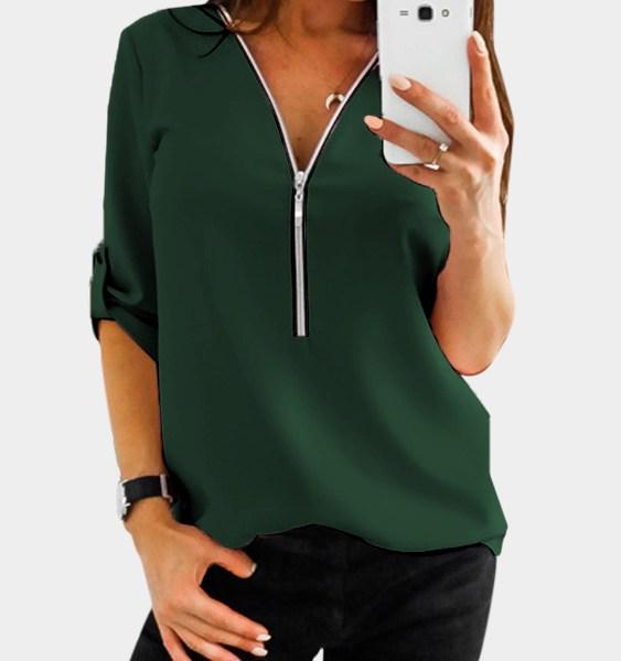 Green Zip Design V-neck Adjustable Sleeve Length Blouse 2