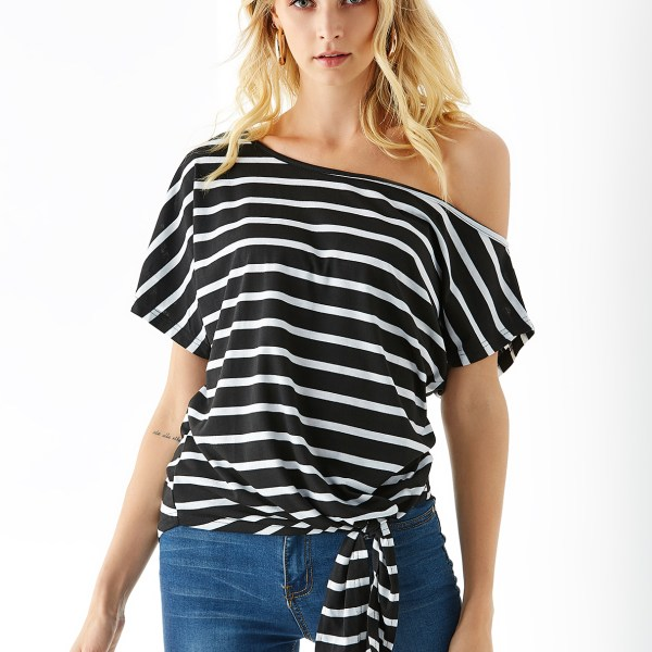 Black Stripe Tie-up Design One Shoulder Short Sleeves Tee 2