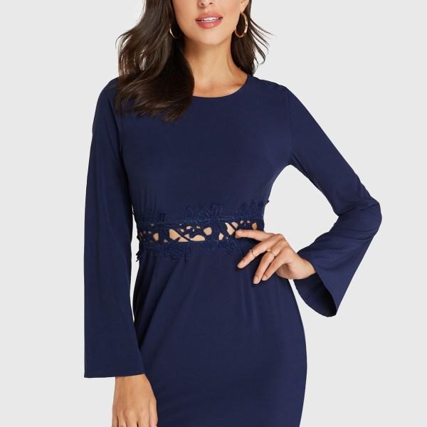 YOINS Navy Zip Design Round Neck Long Sleeves Dress 2