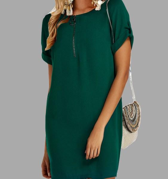 Green Button Design Round Neck Short Sleeves Dress 2