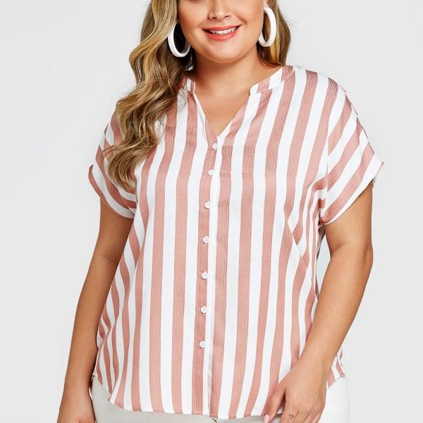 YOINS Plus Size Pink Stripe V-neck Short Sleeves Blouse 2