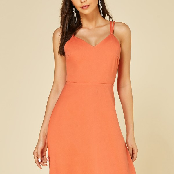 YOINS Orange Backless Design V-neck Dress 2