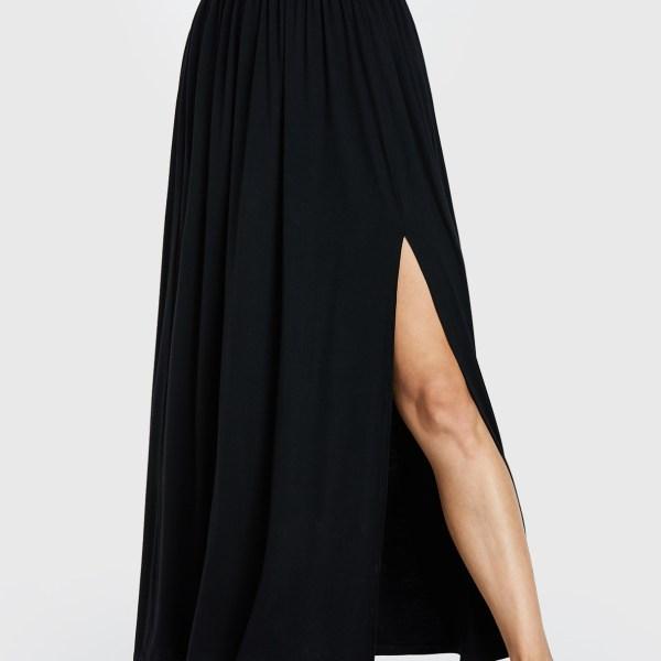 YOINS Black Shirring Slit Hem High-Waisted Skirt 2