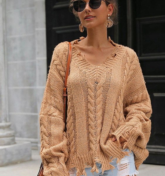 Brown Cable Knit V-neck Long Sleeves Sweater 2