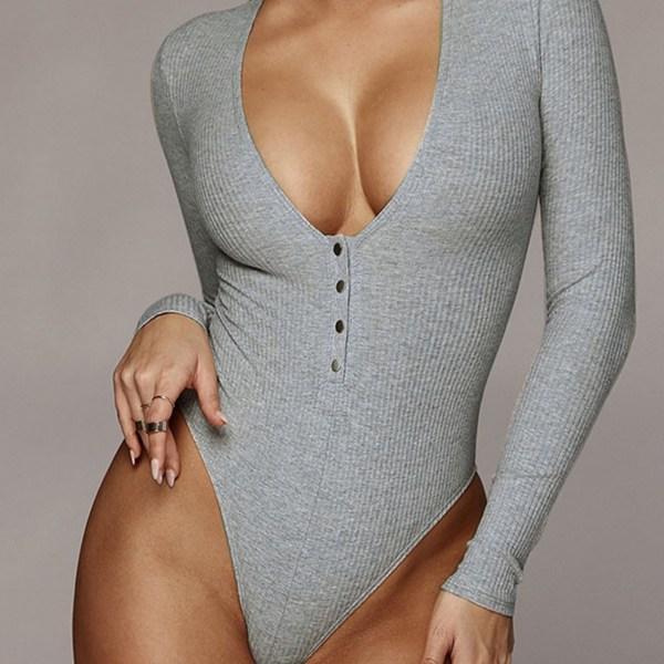 Grey Scoop Neck Front Button Knit Bodysuit 2