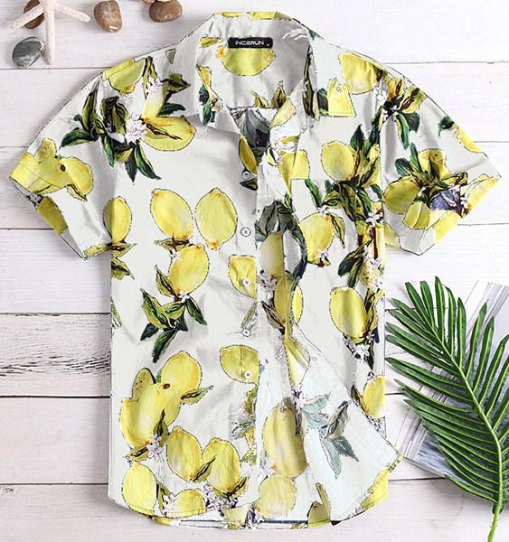 Men Summer Tropical Fruit Printed Hawaiian Vacation Shirt 2