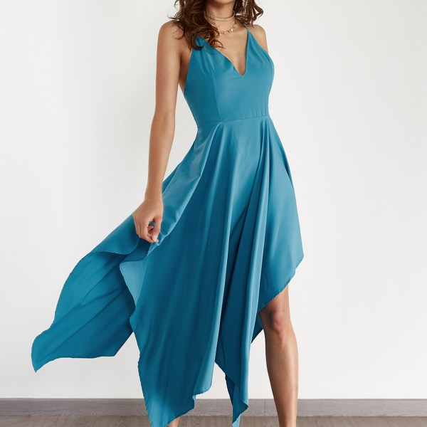 Sexy V-neck & Asymmetrical Maxi Dress in Turquoise 2