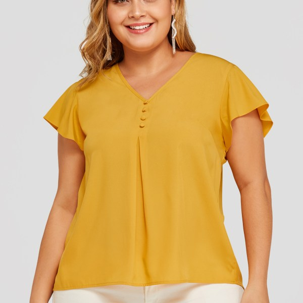 Plus Size Yellow Pleated V-neck Blouse 2