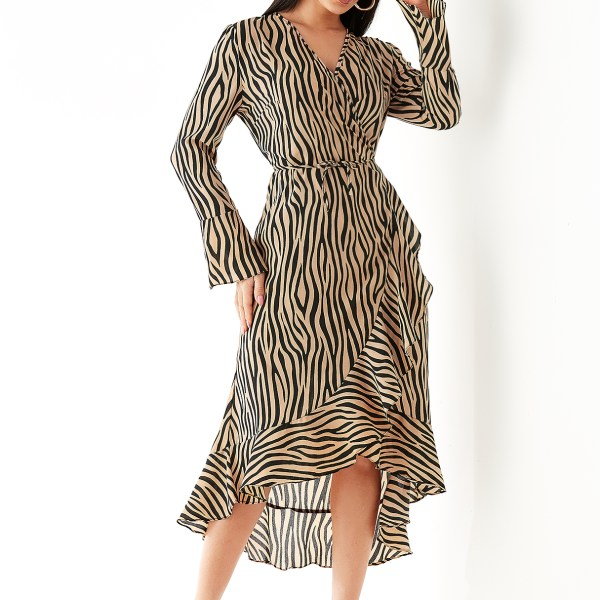 Khaki Dalmatian Print Ruffle Hem Wrap Dress 2